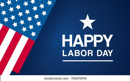 Happy Labor day vector illustration, Beautiful USA flag on blue background.