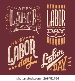 Happy Labor Day, vintage hand-lettering designs set