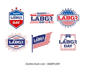 Happy Labor Day.American Labor Day Labels or Badges Template.Vector illustration