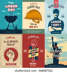 Happy Labor USA day. Creative and vintage posters for advertisement