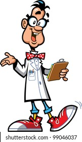 Happy Laboratory Professor Scientist With Glasses, Bow Tie and Sneakers Holding Clipboard
