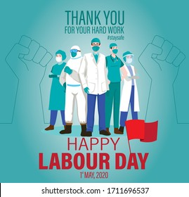 Happy Labour Day 2020 Vector. 1st May International Labour Day. Thank You for Your Hard Work. Thank You Doctors and Nurses. Worker's Day Vector Art.