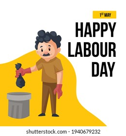 Happy labour day banner design with cleaning man throwing garbage envelope in the dustbin. Vector graphic illustration.