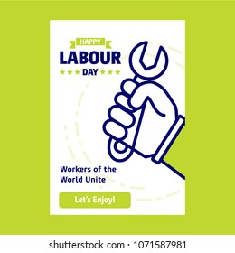 Happy Labour day design with green and blue theme vector with ha