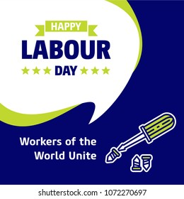 Happy Labour day design with green and blue theme vector