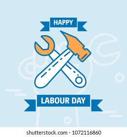 Happy Labour day design with vintage theme blue and orange with