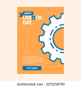 Happy Labour day design with vintage theme blue and orange