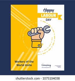 Happy Labour day design with yellow and blue theme vector with h