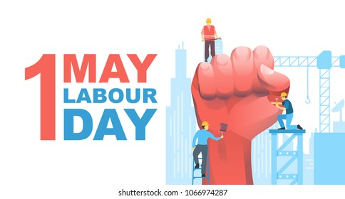 Happy Labour Day, First of May with clenched fist