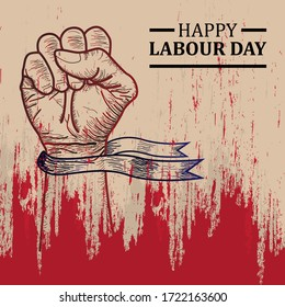 Happy Labour Day With Grunge Effect. Good for your poster, sticker, wallpaper, and t-shirt