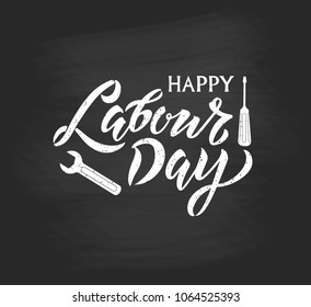 Happy Labour Day handwritten lettering. Happy Labour Day typography vector design for greeting cards and poster. Design template celebration. Vector illustration.