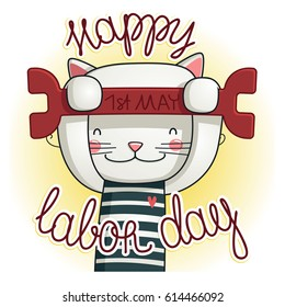 Happy Labour Day! International Workers Day. illustration of Labor Day concept with cat
