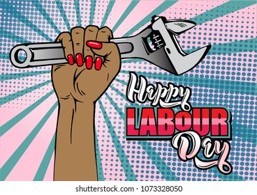 Happy Labour Day lettering. Cartoon female hand with manicure holds adjustable wrench. Typography vector design for greeting cards and poster. Design template celebration. Vector illustration.