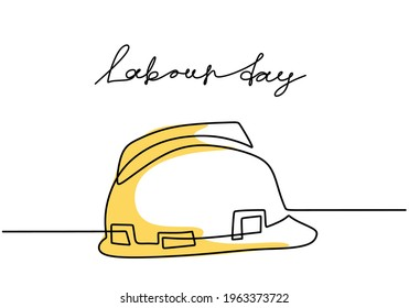Happy Labour Day. One continuous line drawing of yellow hard hat with lettering Labour Day. Safety hard construction hat icon minimalist background, banner, poster. Vector illustration