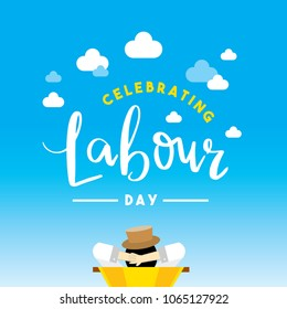 Happy Labour Day poster/ Relaxing illustrations/ Holiday background design/ Hand lettering design
