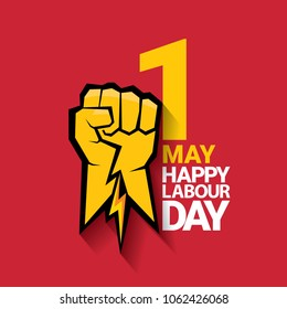 Happy labour day vector label with strong orange fist on red background. vector happy labor day background or banner with man hand. red workers may day poster