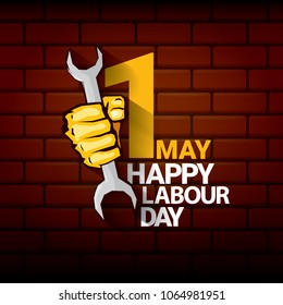 Happy labour day vector label with strong orange fist on red brick wall background. vector happy labor day background or banner with man hand. workers may day poster