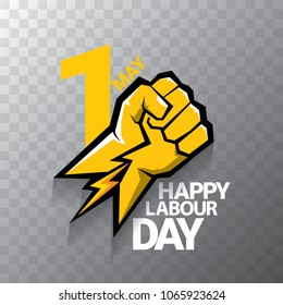 Happy labour day vector label or badge with strong orange fist isolated on transparent background. vector happy labor day background or banner with man hand. workers may day poster