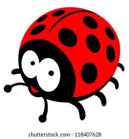happy ladybug vector illustration
