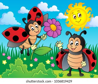 Happy ladybugs on meadow image 1 - eps10 vector illustration.
