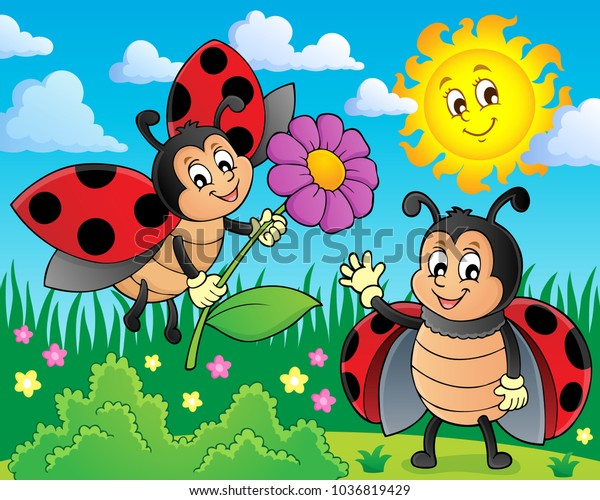Happy ladybugs on meadow image 1 - eps10 vector illustration.