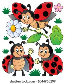 Happy ladybugs theme set 1 - eps10 vector illustration.