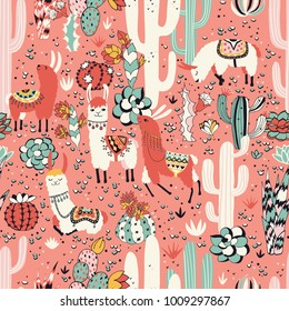 Happy lama in cactus jungles with lovely flowers and cacti on pink background. Seamless vector pattern. Good for posters, stickers, cards, notebooks and other childish accessories.