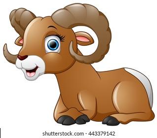 Happy lamb cartoon isolated on white background