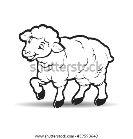 Happy Lamb Looking Forward Outlinevector Drawing Stock Vector