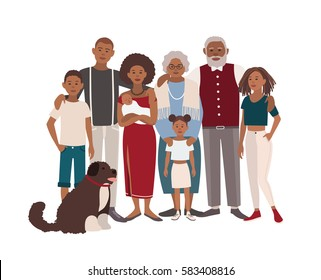 Happy large black family portrait. Father, mother, grandmother, grandfather, sons, daughters and dog together. Vector illustration of a flat design.