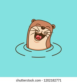 Happy laughing cute otter logo design symbol illustration