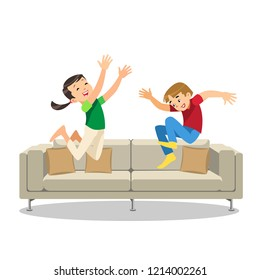 Happy Laughing Kids Jumping on Sofa Cartoon Vector Illustration Isolated on White Background. Disobedient, Rowdy Childrens Playing in Living Room. Mischievous Brother and Sister Having Fun at Home