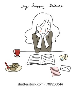 Happy leisure concept with cute woman reading book. Coffee cup, a plate of cake, postcard and letter are on the table. Vector illustration with hand-drawn style