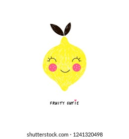 happy lemon fruit with cute kawaii face, funny veggie character with phrase, pencil drawing style illustration for kid poster and summer t-shirt design, isolated on white