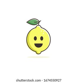 Happy Lemon icon, vector mascot smile flat design.