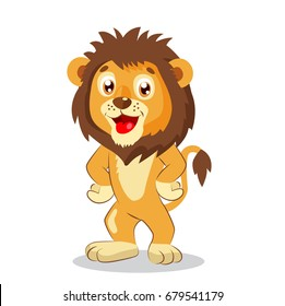 Happy Leo. Cartoon Lion Vector. Cute Character. Kids Funny Illustration. Lion Funny Mascot. Cute Jungle Animals.