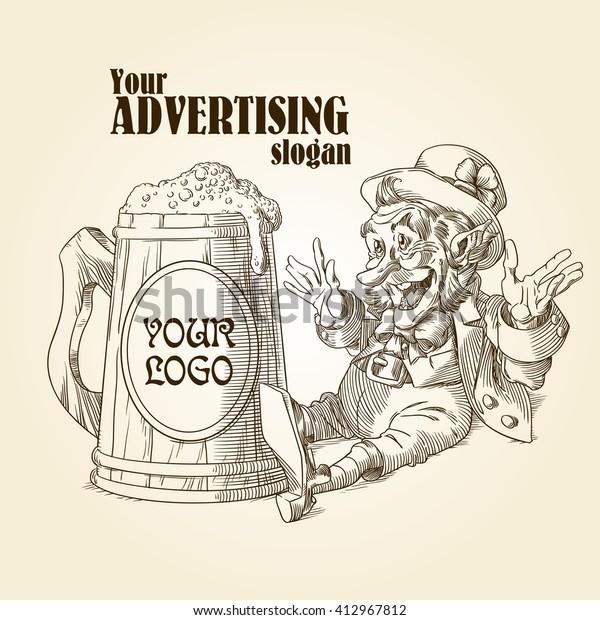 Happy leprechaun and big mug of beer in sepia 1