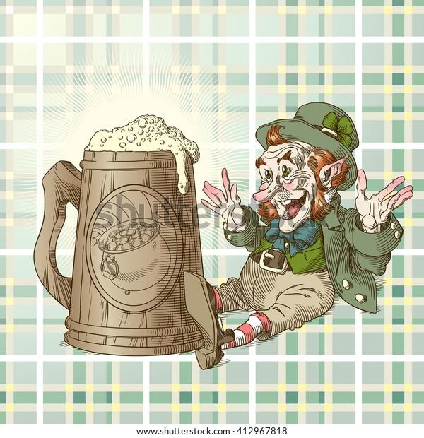 Happy leprechaun and big mug of beer in colors 3