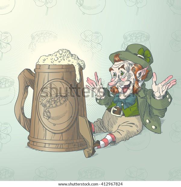 Happy leprechaun and big mug of beer in colors 4