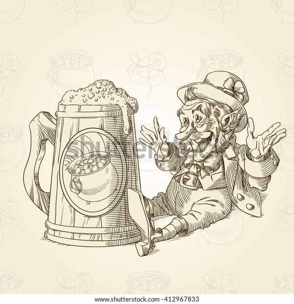 Happy leprechaun and big mug of beer in sepia 2