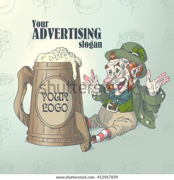 Happy leprechaun and big mug of beer in colors 2