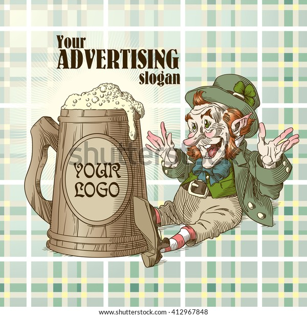 Happy leprechaun and big mug of beer in colors 1