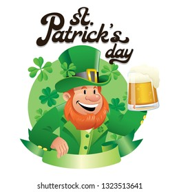 happy leprechaun holding a glass pint of beer