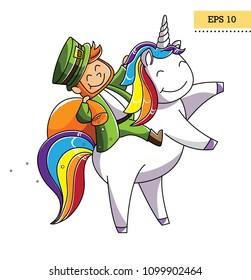 Happy Leprechaun on unicorn. Bright and clean cartoon illustration on Datrik's day. Vector, EPS 10