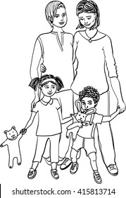 Happy lesbian adoption family of two women, girl and boy standing together. Beautiful gay couple with adopted daughter and son. Homosexual parenting concept. Cartoon style isolated vector sketch.