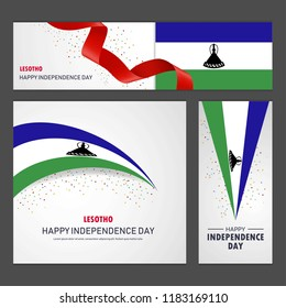 Happy Lesotho independence day Banner and Background Set