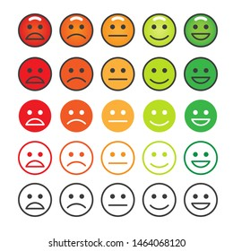 Happy level faces. Happiness measure face icons, stress emotion levels, customers stressed emoticons scale rating, vector illustration