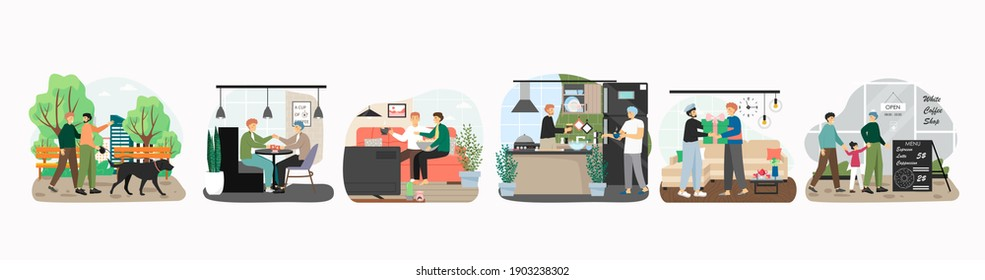 Happy lgbt gay couple in different situations, concept vector illustration. Homosexual men walking dog, cooking, watching movie together. LGBT people with child go to cafe