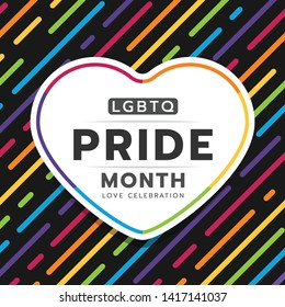 Happy LGBTQ Pride month typography text in heart banner on abstract colorful rainbow line dash stripe texture and black background vector design