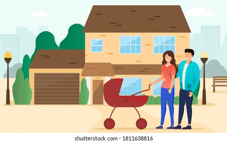 Happy life concept. Happy parents walking with a baby carriage in front of their house. Flat vector illustration